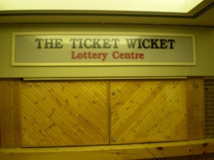 ticket wicket lottery sign